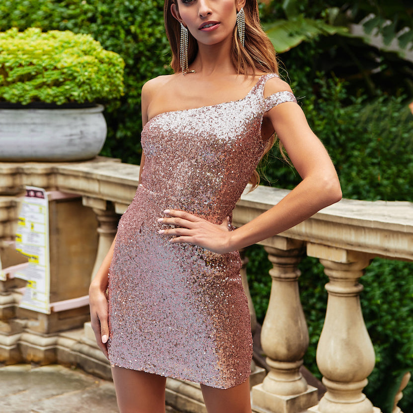 有视频2019 Summer Sexy Wrapped Chest   Sequined One-Piece Skirt Dress