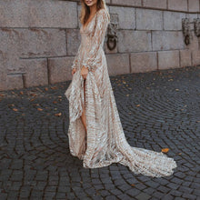 V-Neck Sequined Perspective Sexy Long-Sleeved Dress