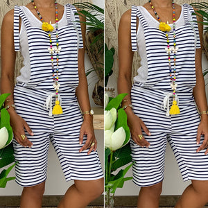 Casual Striped Wild Strap Jumpsuit