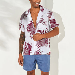 Summer Men's Casual Short Sleeve Shirt Leaf Print Loose Top