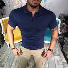 Men's Polo Shirt Fashion Solid Color Business Short Sleeve Lapel T-Shirt