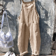 Casual Strap Striped Jumpsuit Wide Leg Trousers