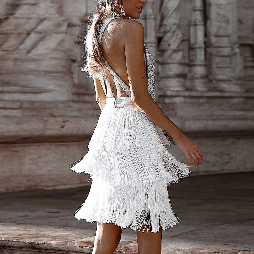 Sex Fashion White Tassel Skirt