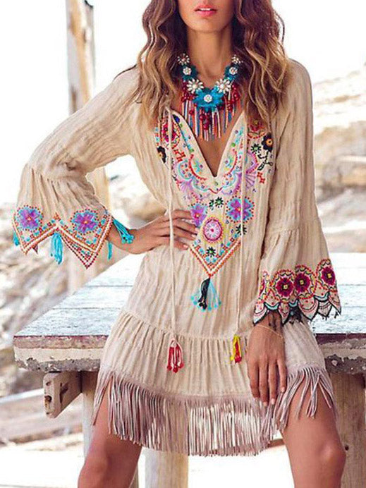 Splicing Fringed Embroidered Trumpet Sleeves Hem Hem With Deep V-Shirt Dress