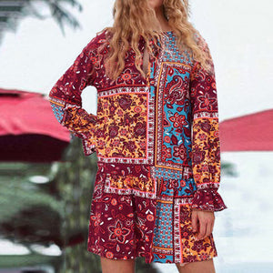 2019 Summer New Fashion Lace Print Dress