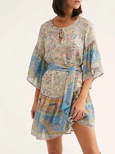 Bohemian Casual Printed Lace Up Dress