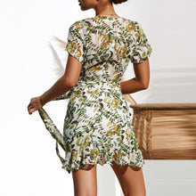 Floral Short-Sleeved V-Neck   Ruffled Mini Dress