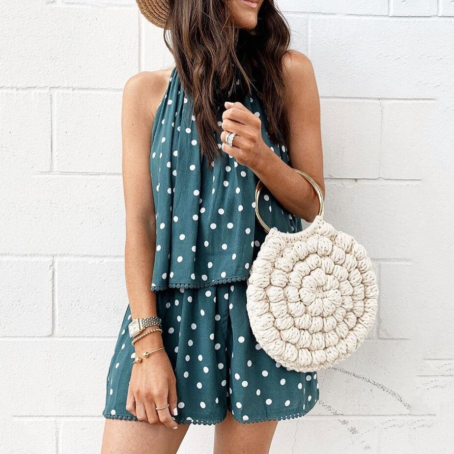 Polka Dot Sleeveless Vest Top Shorts Set