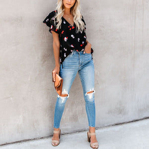Summer Trumpet Sleeves Lace-Up Printed T-Shirt Top