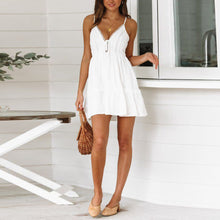 Summer Sexy Backless Lace Stitching Sling Dress