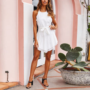 Summer Sexy Backless Halter Strap Solid Color Dress
