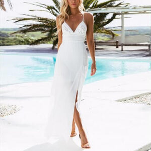 Summer Beach Sexy Low-Cut V-Neck Lace-Up Split Dress