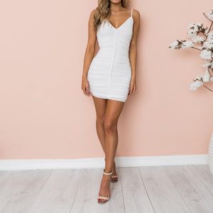 Sexy Sling Mesh Slim Solid Color Dress