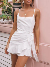 Summer Sexy Sling Ruffled Solid Color Lace-Up Dress