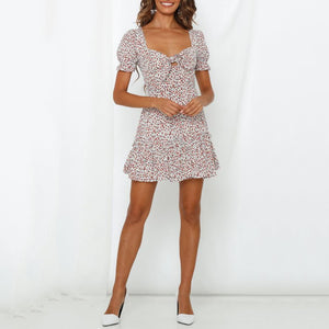 Summer Sexy Short-Sleeved Ruffled Print Dress