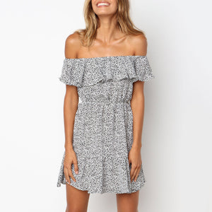 Sexy Off-The-Shoulder Ruffled Print Dress