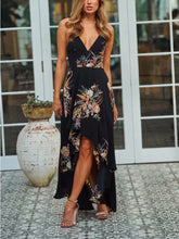 Sling Deep V-Neck Printed Split Dress