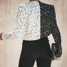 V-Neck Long-Sleeved Slim Printed Contrast Shirt Top