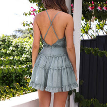 2019 New Sling Ruffled V-Neck Leak Back Stitching Sexy Mini Dress