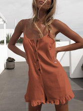 Sling Open Half-Access Hem   Wooden Ear Side Jumpsuit