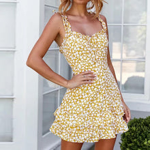 Fashion Wild Holiday Wind Floral   Sling Mini Dress
