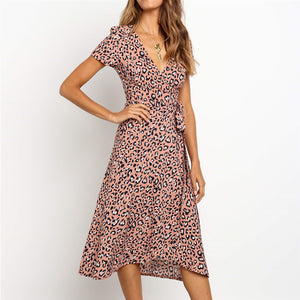 V-Neck Short-Sleeved High-Waist   Lace-Up Printed Chiffon Dress