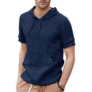 Men's Summer Linen Hooded Short Sleeve T-Shirt