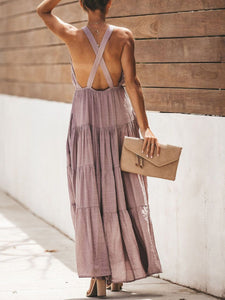 Sexy V-Neck Open Back Cross Strap Dress