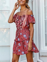 Summer Sexy Off-The-Shoulder Cotton Printed Ruffled Dress