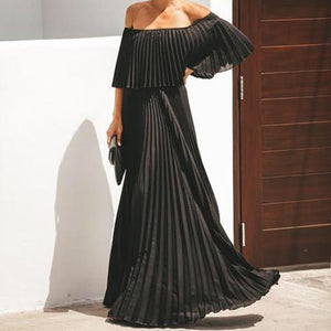 2019 Sexy Word Collar Strapless Solid Color Chiffon Dress Dress