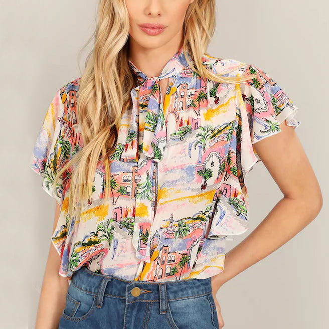 Tropical Print Scarf Collar Lace-Up Ruffled Short-Sleeved Shirt