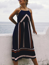Word Collar Chiffon Strap   Striped Dress