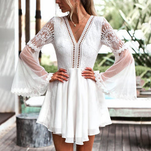 Lace Crocheted Openwork V-Neck   Strap With Flared Long-Sleeved Chiffon Dress
