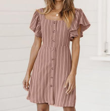 Sexy Waisted Collar Trumpet   Sleeve Striped Mini Dress