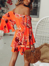 One-Neck Long-Sleeved Printed   Dress