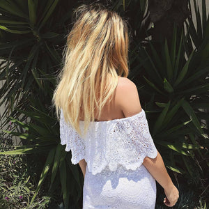 Beach Sexy Off Shoulder Lace Cutout Ruffled Dress