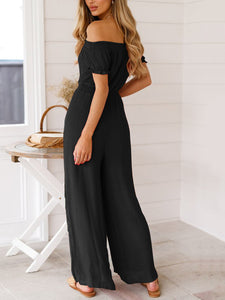 Summer Sexy Off-The-Shoulder High Waist Backless Wide Leg Jumpsuit