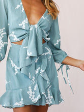 Sexy Bowknot Printed Ruffle Dress