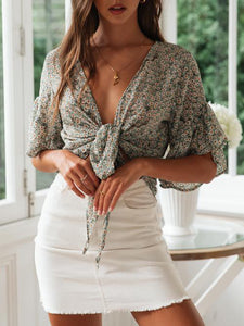 Fashion Casual Printed Lace-Up   Cardigan Top