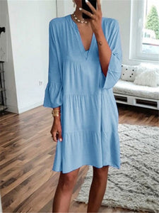 Fashion Women's V-Neck Casual Loose Dress