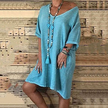 Casual Loose Solid Color Round Neck Dress
