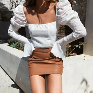 Fashion Casual Square Long   Sleeve Open Back Top