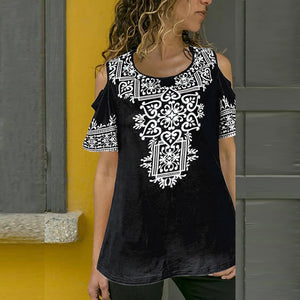 Off-The-Shoulder Short-Sleeved Round Neck Loose Women's Printed T-Shirt Top