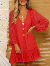 Sexy V-Neck Button Up Front Ruffle Mini Dress