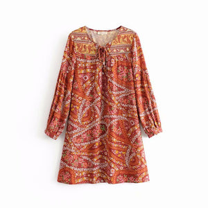2019 Summer Cashew Positioning Print Tie Rope Tie Long Sleeve Dress