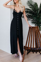 Lace Trim Neck Slip Slit Maxi Dress