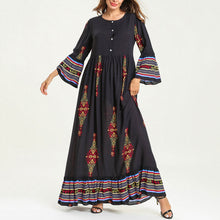 Fashion Long Sleeve Front Placket Printed Casual Dress