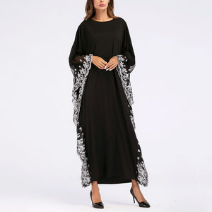 Bat Sleeve Embroidered Dress Muslim Robe