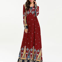 Arab Muslim Special Ethnic Print Fashion Long Dress