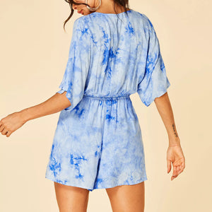 Fashion Blue Printed Casual Jumpsuit